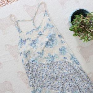 Free People | Blue Ivory Fliral Slip Dress